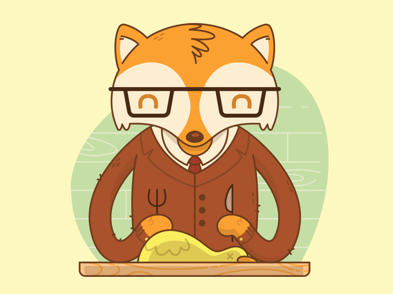 Fantastic Mr. Fox vector illustration by jetpacks and rollerskates