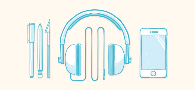 top design, illustration and creative podcasts header image with headphones, designer tools and an ipod.
